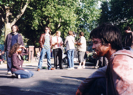 on set photos from Shaun of the Dead - new cross cast