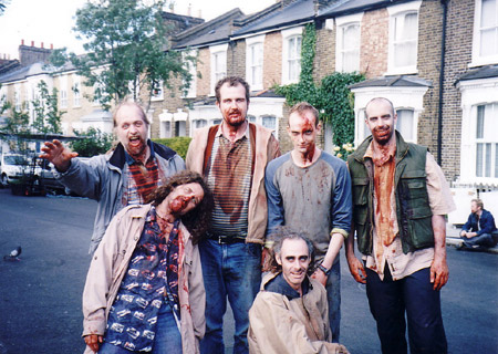 on set photos from Shaun of the Dead - new cross zombies