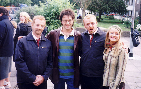 on set photos from Shaun of the Dead - doubles of dylan and simon pegg with simon pegg and lucy davis