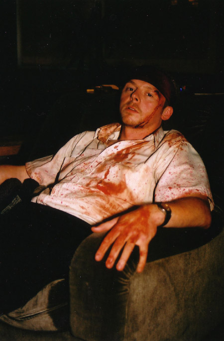 on set photos from Shaun of the Dead - a tired Simon Pegg