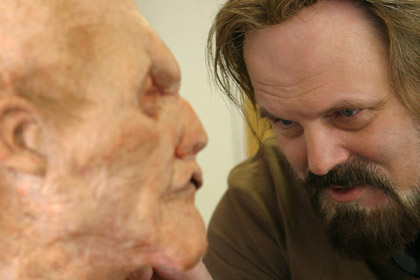 Hatchet - Special Makeup Effects supervisor John Carol Buechler at work creating Victor Crowely