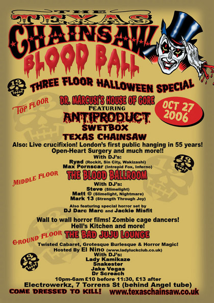 The Texas Chainsaw Blood Ball flyer