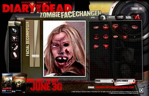 Play with the Zombie Face Changer to celebrate the release of <b>Diary of the Dead</b> on DVD